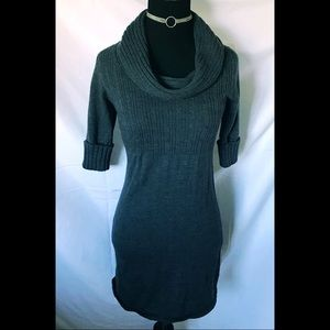 Charcoal Grey Fitted Sweater Dress with cowl neck